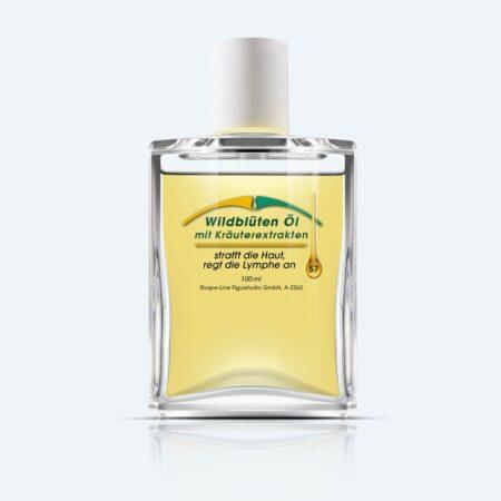 Schnelle und nachhaltige Abhilfe gegen Orangenhaut: Wildblüten Öl mit Kräuterextrakten von Shape-Line.